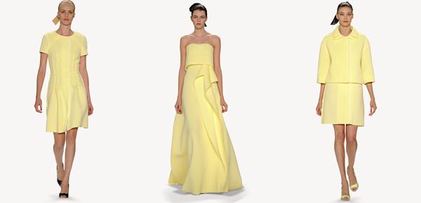 Carolina Herrera elige la tonalidad más suave del color para looks elegantes y sofisticados.