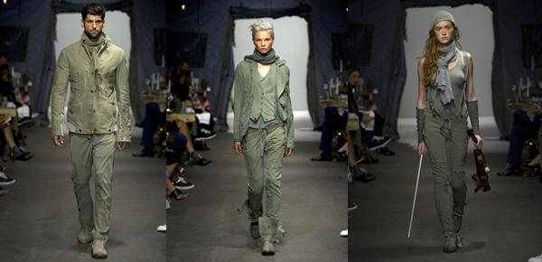 Greg Lauren destaca chaquetas y pantalones. Looks que se alejan de la sofisticación de la noche y convierten a la colección en una selección de prendas hechas (o que ya pasaron) por el combate.