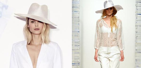 Tess Giberson trae una combinación entre estructura y pamela. Para outfits más sofisticados y pulcros.
