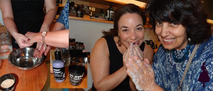 Mara, la chica de Lush, mostró algunos productos haciendo un spa de manos.