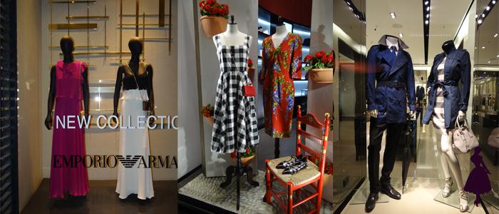 Emporio Armani, Dolce e Gabbana y Burberry. De esta última marca la prenda ícono es el trench coat, en vitrina había uno azul precioso.