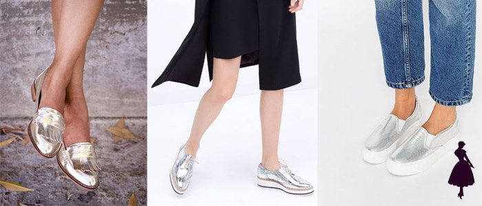 Zapatos metálicos plateados