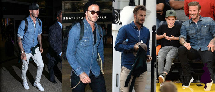 David Beckham Camisa Denim