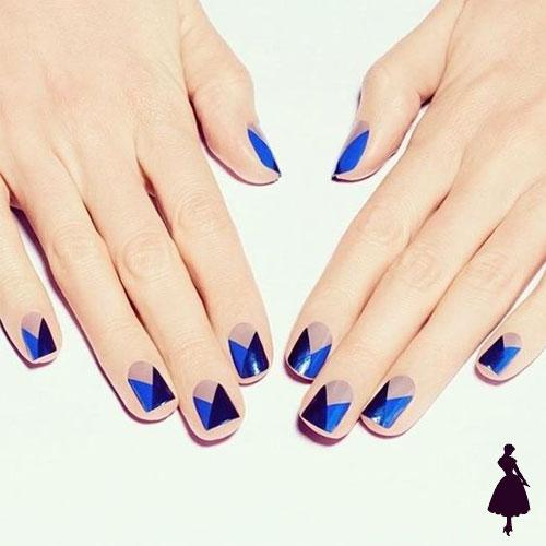 Nailart geométricos azul