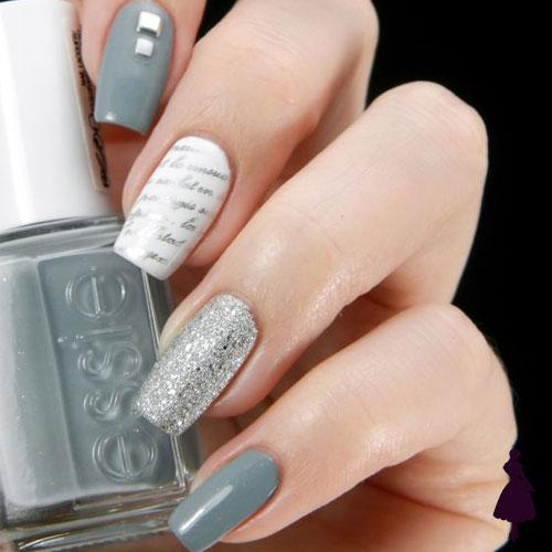 Uñas grises con brillo