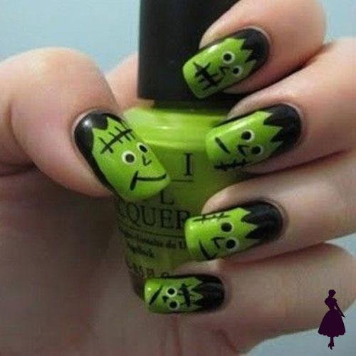Diseños de uñas para halloween ojos monstruos Frankenstein