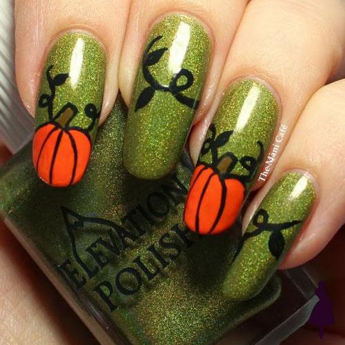 Diseños de uñas para halloween calabaza