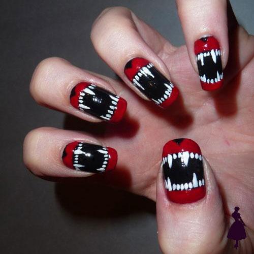 Diseños de uñas para halloween boca