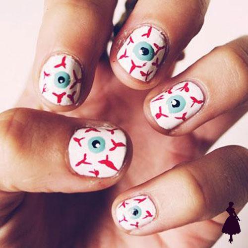 Diseños de uñas para halloween ojos