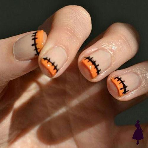 Diseños de uñas para halloween naranjo