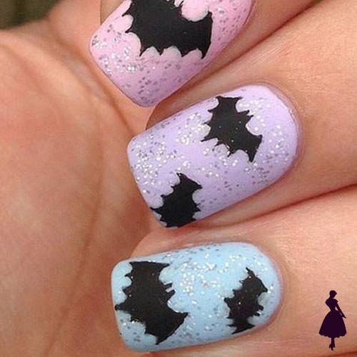 Diseños de uñas para halloween murciélagos