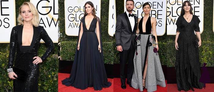 Vestidos de los Golden Globe 2017 Escote Negro