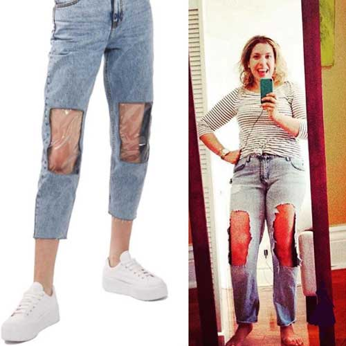 Clear Knee Mom Jeans Instagram