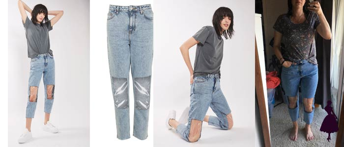 Clear Knee Mom Jeans Pantalones