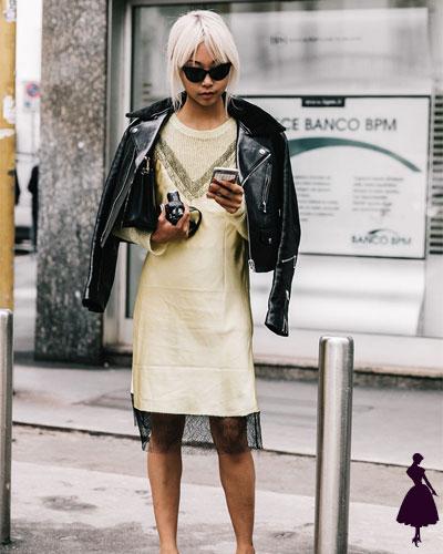 Street Style de Milan slip dress