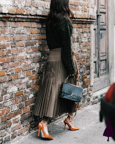 Street Style de Milan falda plisada