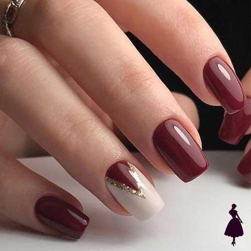 Diseños de uñas color burdeo distinta