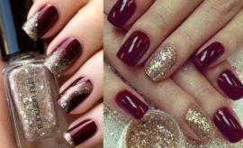 Diseños de uñas color burdeo