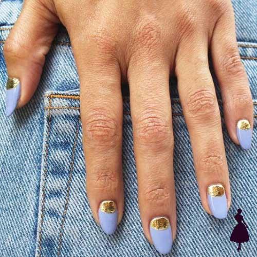 Diseños de uñas media luna foil