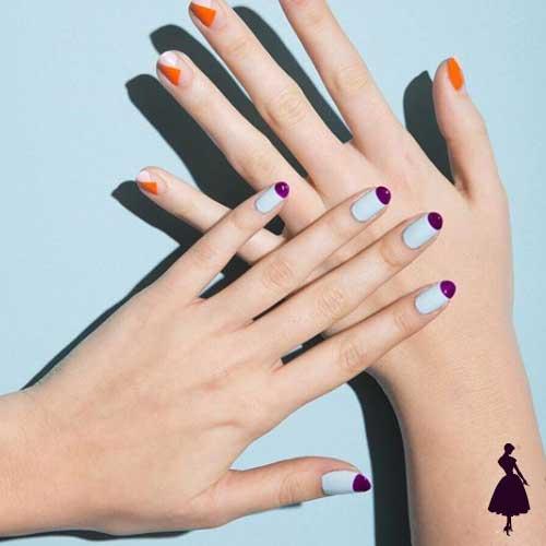 Diseños de uñas media luna colores