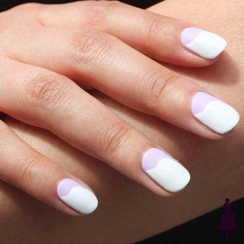Diseños de uñas media luna tono sobre tono
