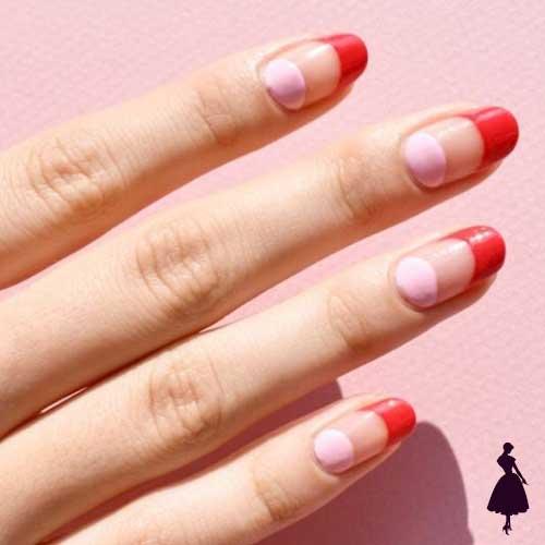 Diseños de uñas media luna doble
