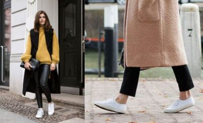 Look con zapatillas blancas
