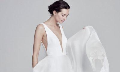 Vestido de novia con escote profundo