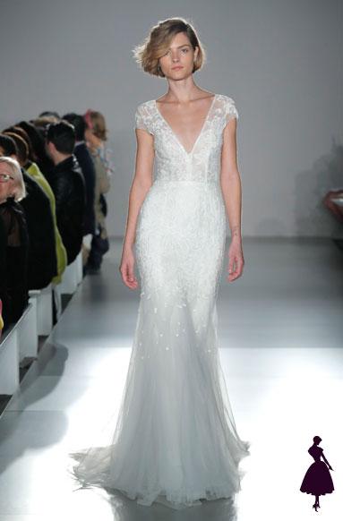 vestidos de novia con escote profundo Amsale