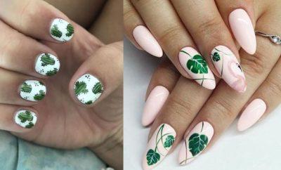 uñas con diseños de plantas