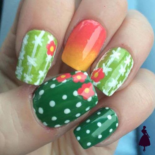 diseños de cactus en las uñas