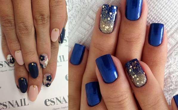 uñas azul marino