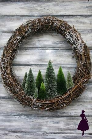 coronas navideñas con pinos